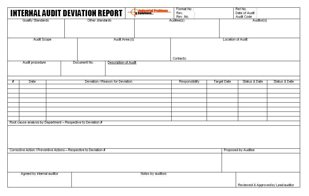 Internal Audit deviation report Format