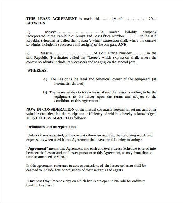 Equipment Lease Form Template] 12 Equipment Rental Agreement ...