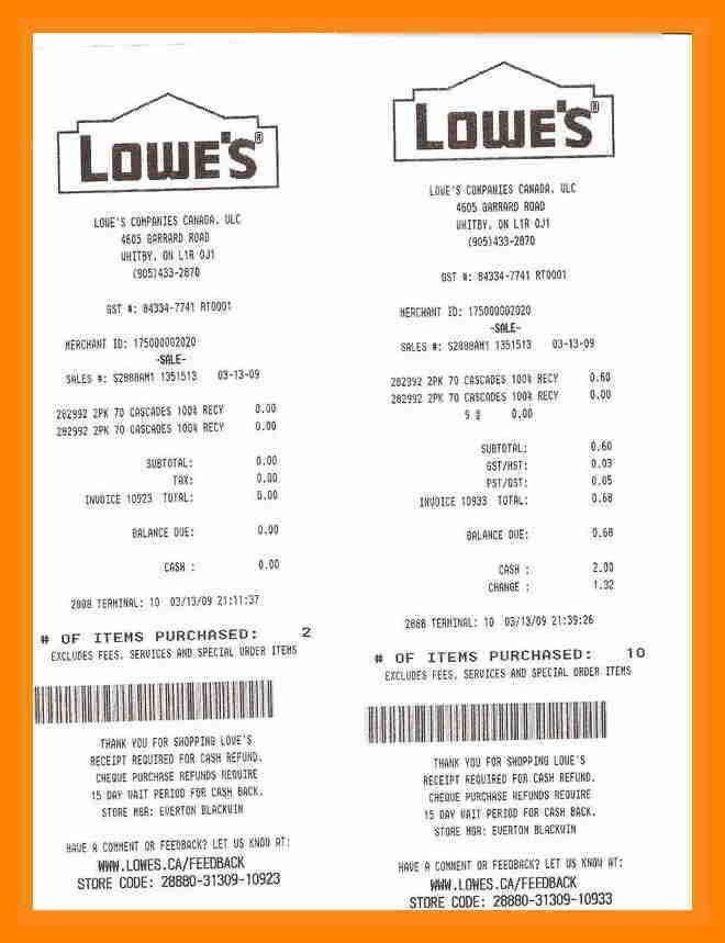 6+ lowe's receipt template | resumes great
