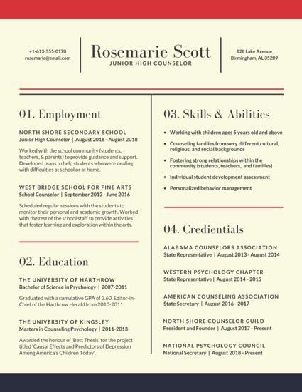 Neat School Counselor Resume - Templates by Canva