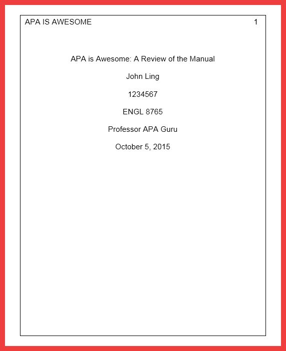 cover page apa format 2016   memo example