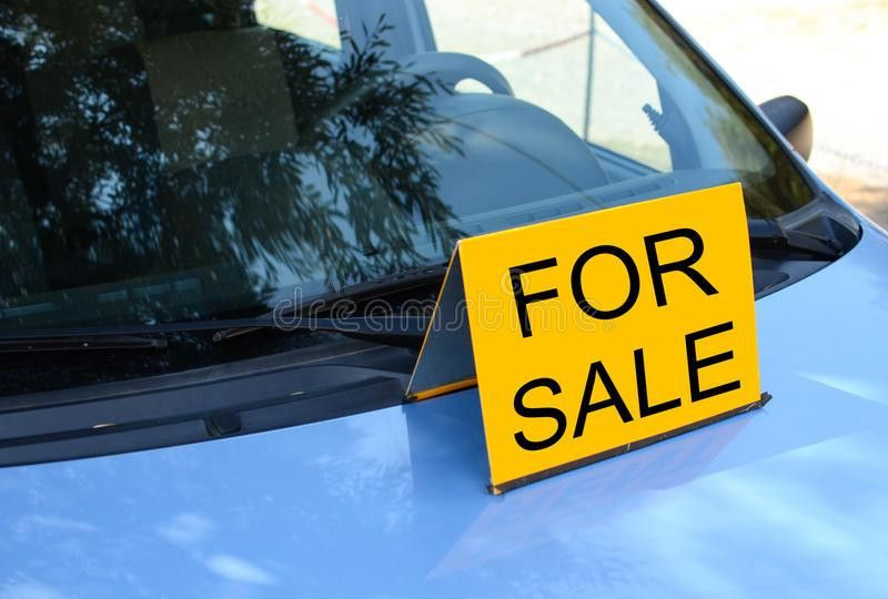FOR SALE Sign On Car - Sell A Car Concept Stock Photo - Image ...