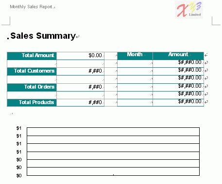 Free Word Report Template - Monthly Sales 2
