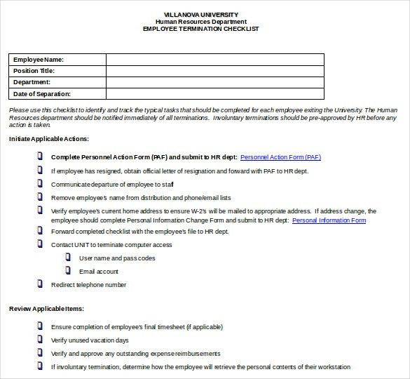 Termination Checklist Template – 12+ Free Word, Excel, PDF ...