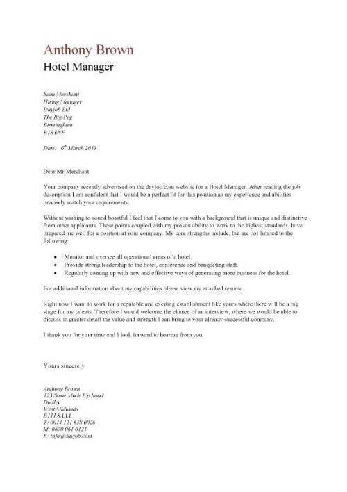 Hotel Cover Letter Sample - Best Letter Sample