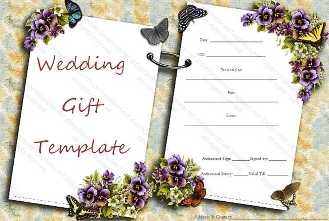 Two sides wedding gift certificate template