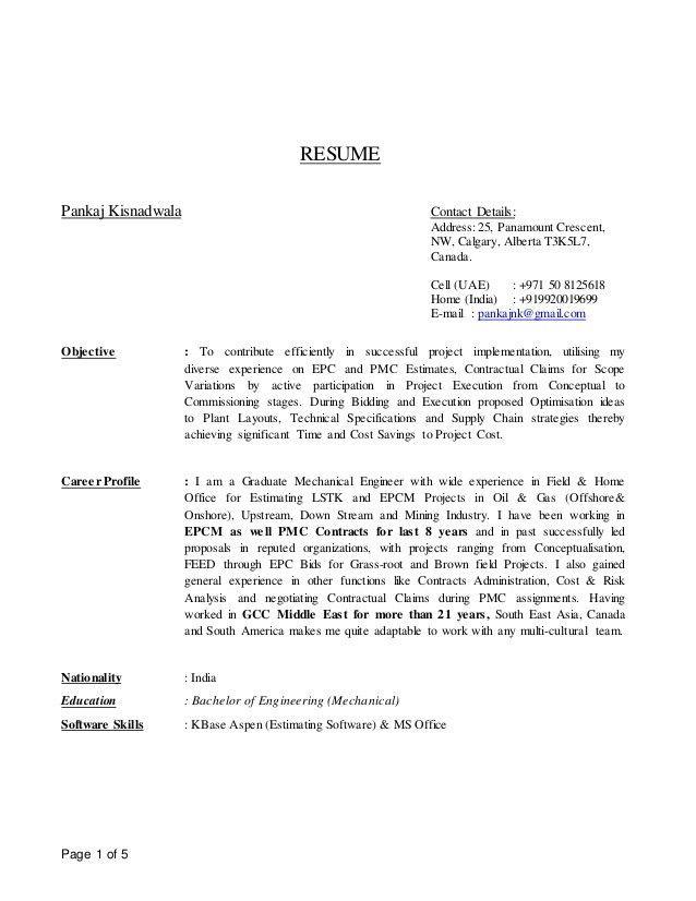 Sr Cost Estimator-Resume (July 2016)-Pankaj Kisnadwala