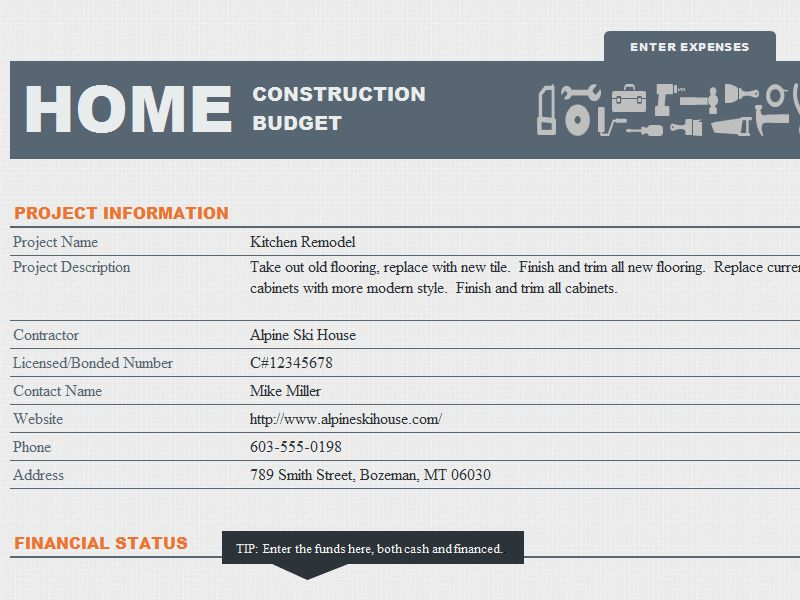 MS Excel Home Construction Budget Template | Formal Word Templates