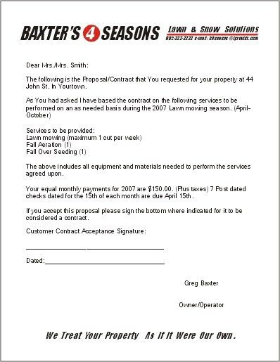 Free Lawn Care Contract Forms - lawn maintenance contract ...