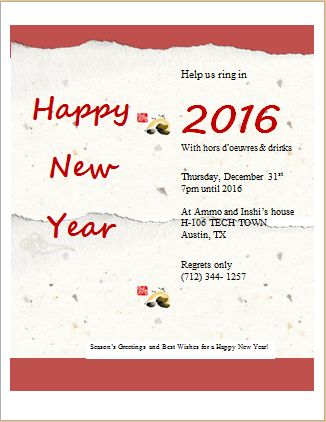 New Year Party Invitation Card Template | Word & Excel Templates