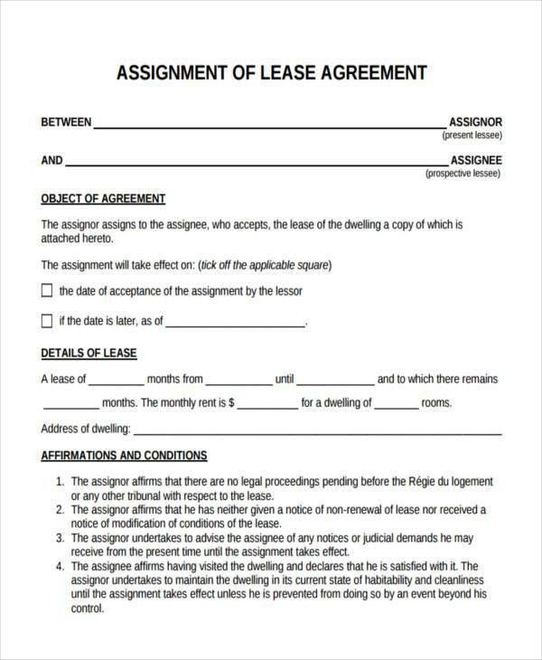 Assignment Of Lease. 2 Leaseagreement (1) Lease Assignment ...
