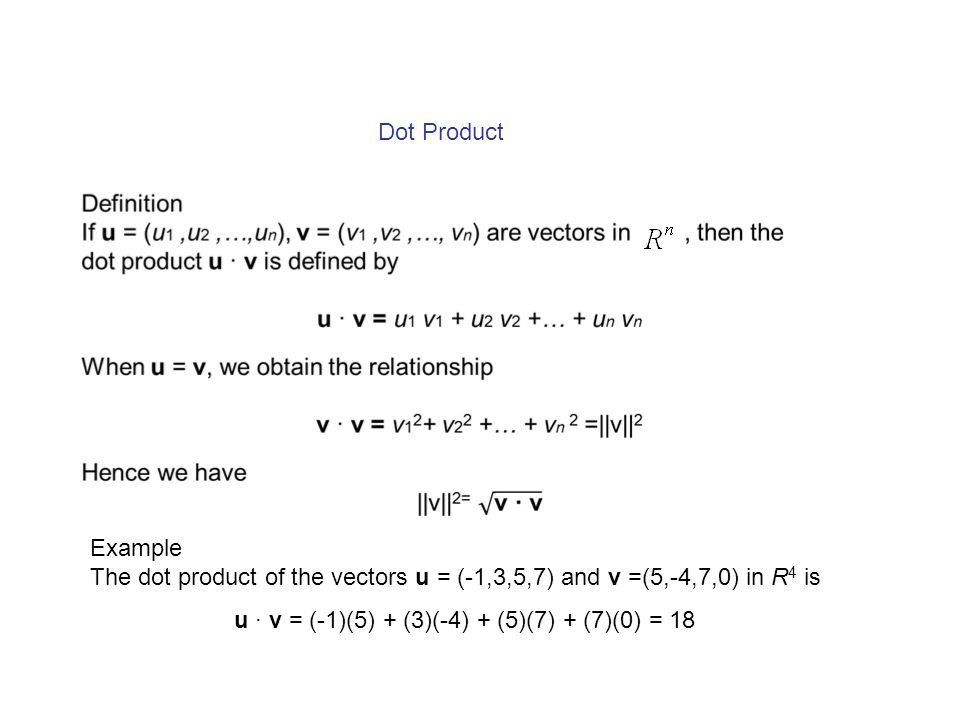 Chapter 3 Euclidean Vector Spaces Vectors in n-space Norm, Dot ...