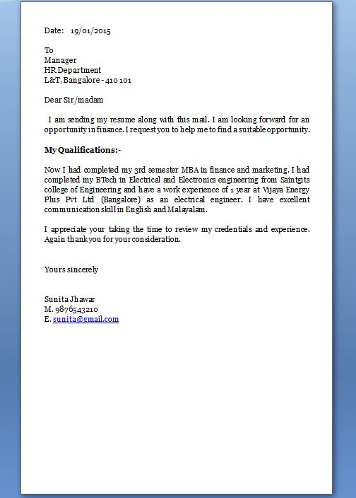 Sending cover letter and resume electronically by e mail for How ...