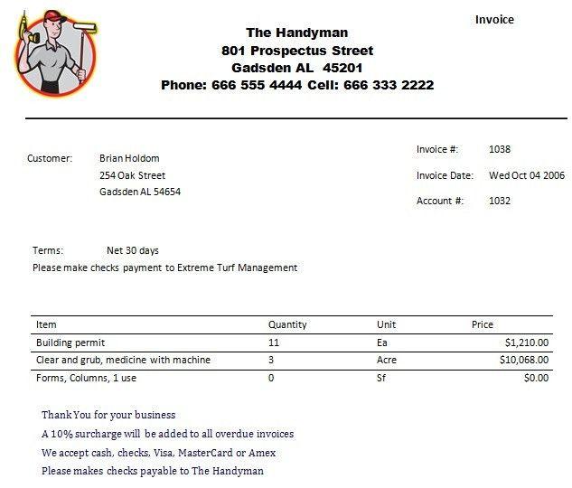 Handyman Invoice Template | invoice sample template