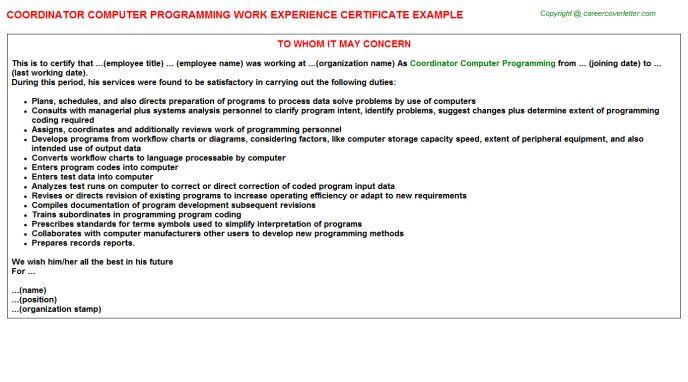 Coordinator Computer Programming Work Experience Certificate
