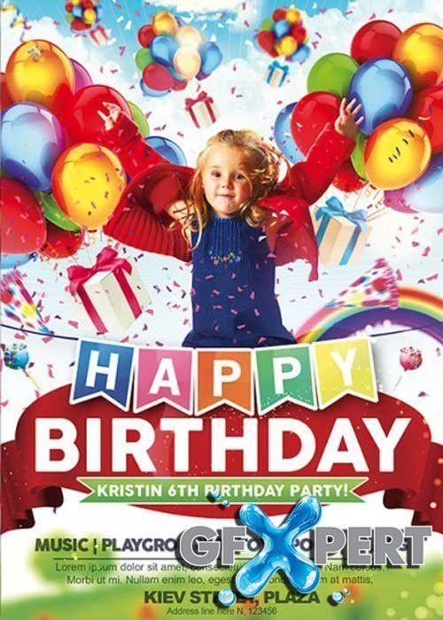 Free Kids Happy Birthday Premium Flyer Template + Facebook Cover ...
