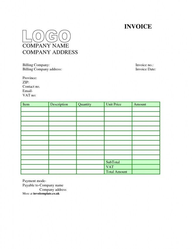 personal invoice template word