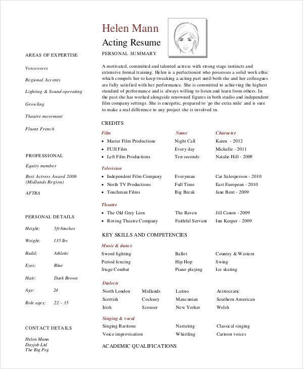 8+ Acting Resumes - Free Sample, Example, Format | Free & Premium ...