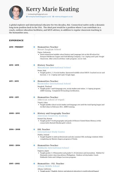 Teacher Resume samples - VisualCV resume samples database