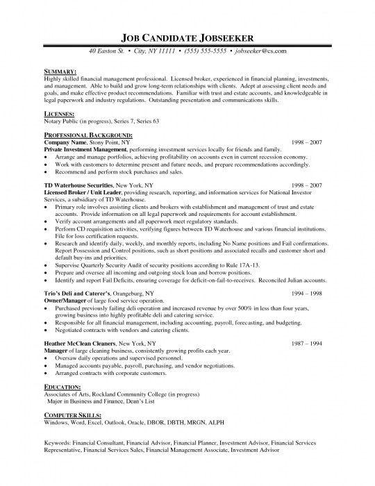 The Elegant Financial Advisor Resume Samples | Resume Format Web