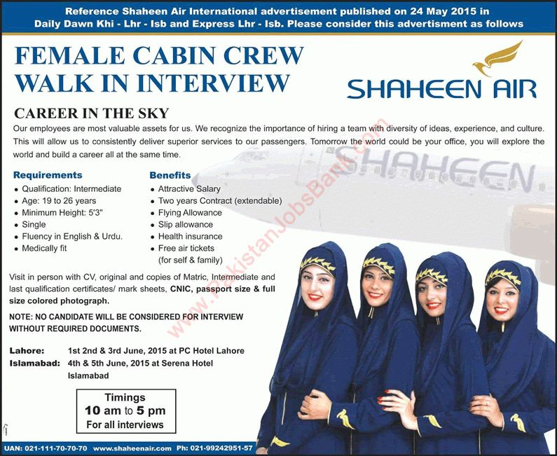 Shaheen Air Vacancies May 2015 for Female Cabin Crew / Air Hostess ...