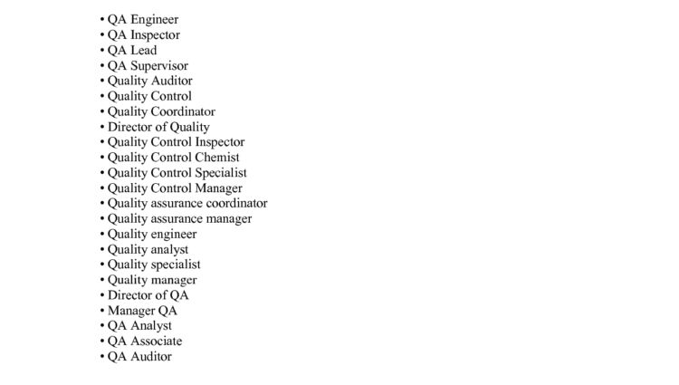 Quality Assurance Job Descriptions job description types of ...