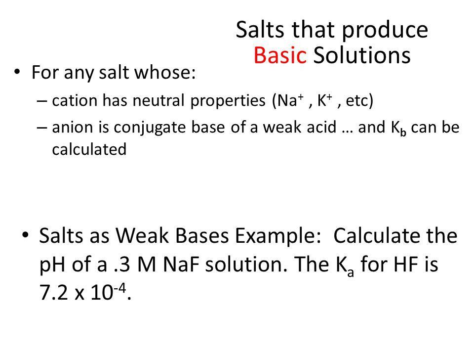 Salts as Acids and Bases Cations Sloshing Anions Sloshing Salt ...