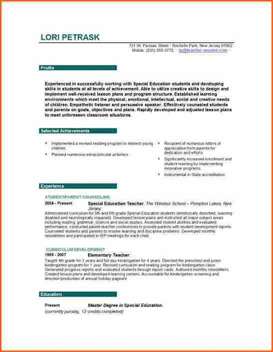 resume for teaching profession unforgettable teacher resume