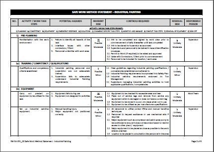 Swms Template. corporate safety job safety and environment ...