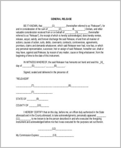 Sample Legal Release Forms - 8+ Free Documents in Word, PDF
