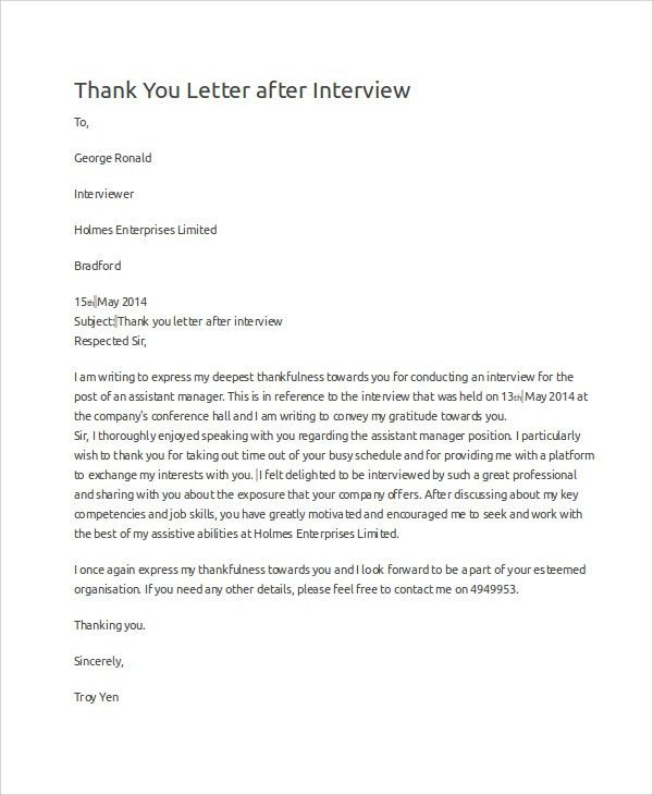 Sample Interview Thank You Letter. Thank You Letter After ...