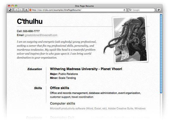One Page Résumé Site | CSS-Tricks