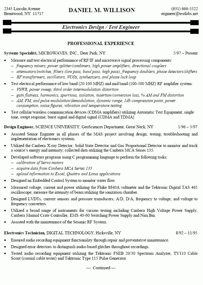Electronics Engineer Sample Resume | haadyaooverbayresort.com