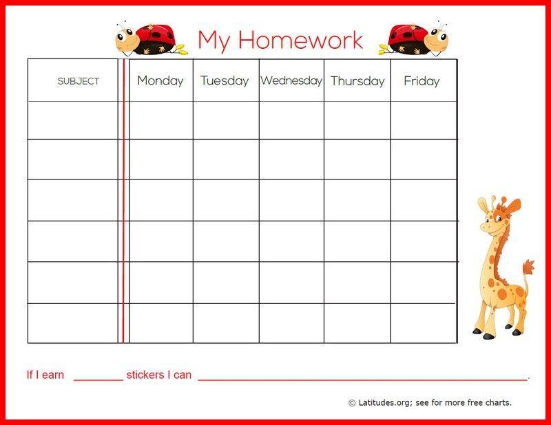 FREE Weekly Homework Sticker Chart (Primary)   ACN Latitudes