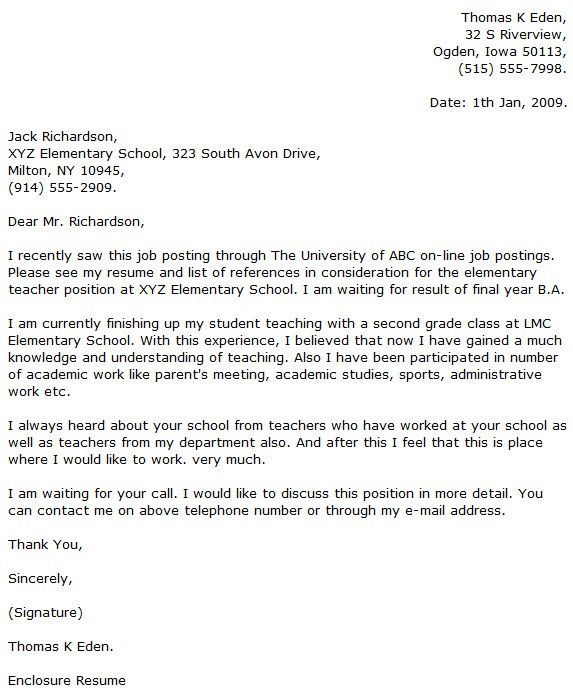 swimming teacher cover letter example. teacher cover letter ...