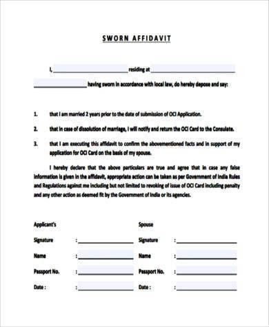 Sworn Statement Form Samples - 7+ Free Documents in PDF