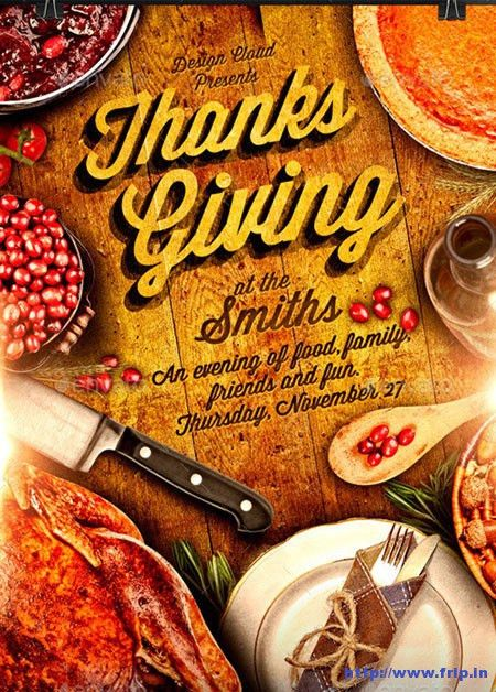 100 Best Thanksgiving Party Flyers Print Templates 2016 | Frip.in