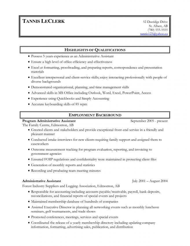 8 Sample Resume For Administrative Assistant Skills Resume Skills .