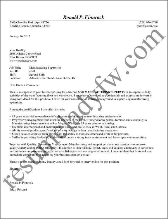 Cover letter and sample and manufacturing