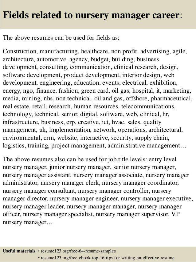 Top 8 nursery manager resume samples