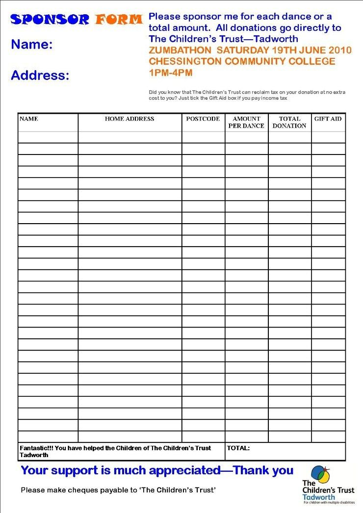 Sponsored Walk Form Template - Contegri.com