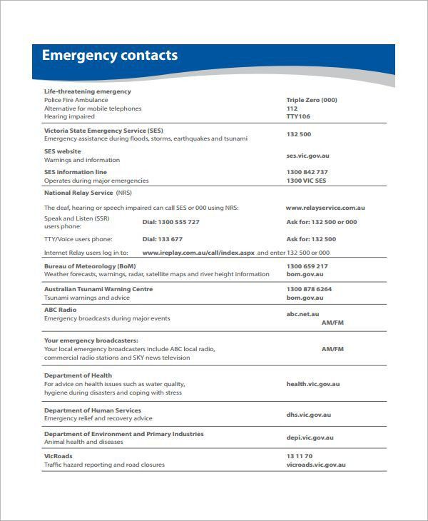Emergency Action Plan Template for Home sample emergency action ...