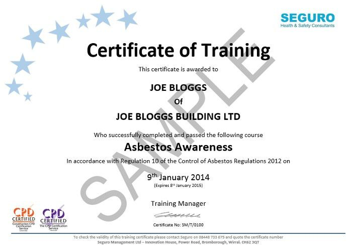 AA Certificate Sample -