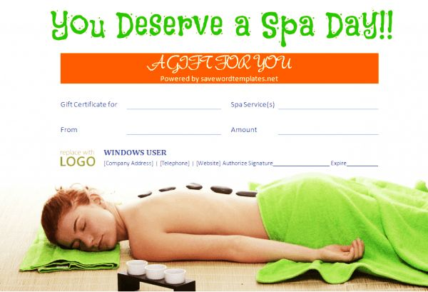 Gift Certificate Templates: Beauty and Spa Gift Certificates