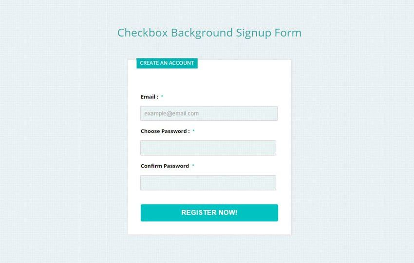 Checkbox Background Signup Form Responsive Widget Template by ...