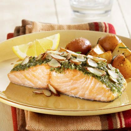 BabyZone: Healthy Recipes for Weight Loss | Salmon with Cilantro Pesto