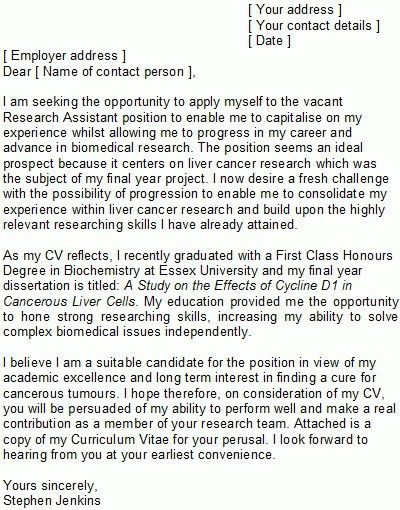 Research Assistant Cover Letter Sample | The Letter Sample