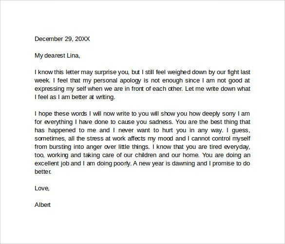 Sample Apology Love Letter - 8 + Documents in PDF, word