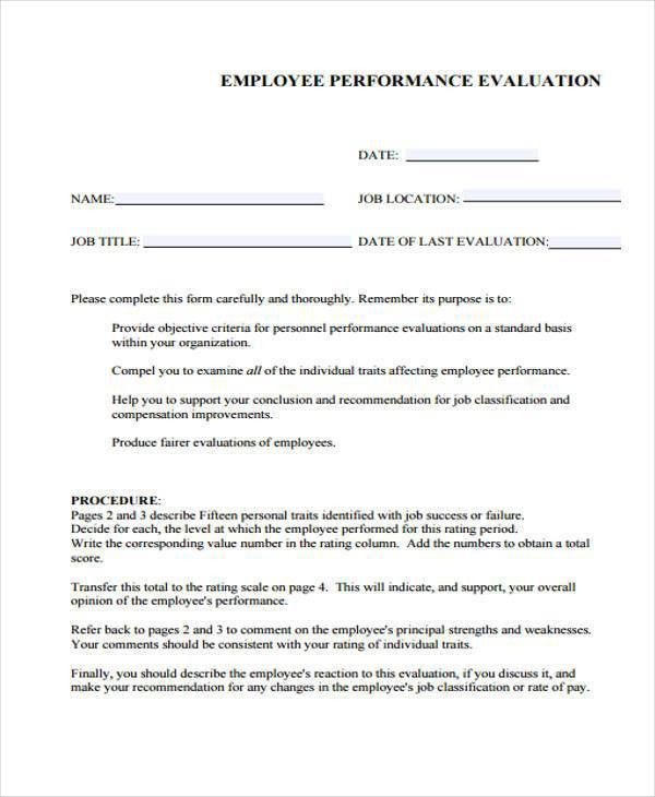 9+ Employee Performance Evaluation Form Samples - Free Sample ...