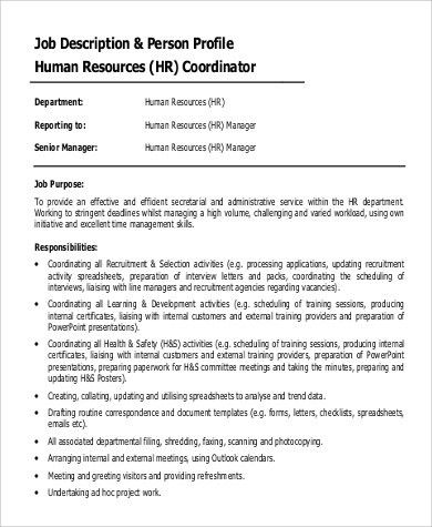 Hr Coordinator Job Description. Sample Senior Hr Coordinator Job ...